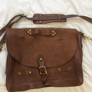 J Crew Montague brown leather side messenger bag